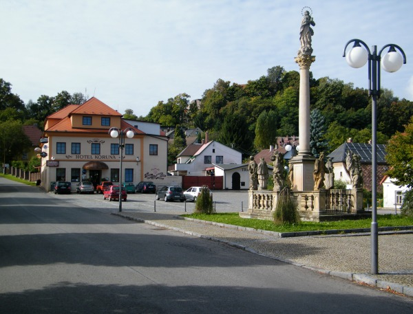 Pecka square with hotelm Koruna